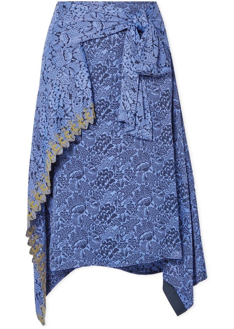 Chloé Asymmetric Embroidered Floral-jacquard Skirt