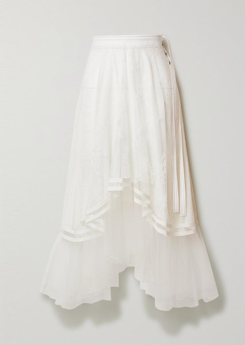 Chloé Asymmetric Embroidered Tulle Midi Skirt