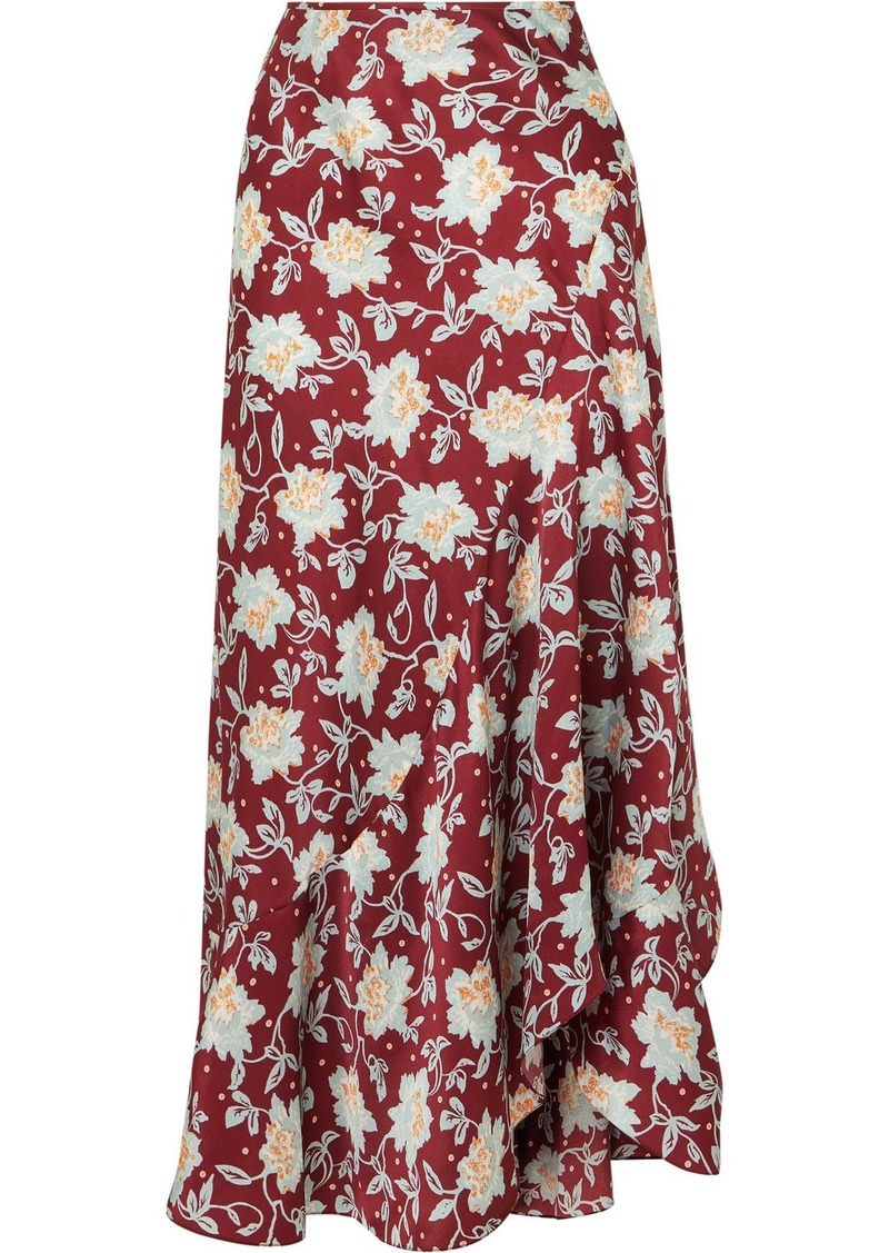 Chloé Asymmetric Floral-print Silk Midi Skirt