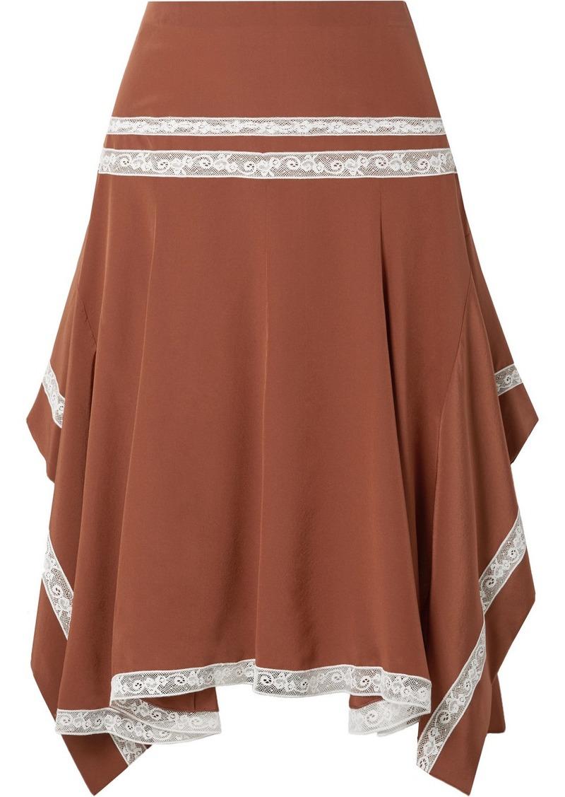 Chloé Asymmetric Lace-trimmed Silk-satin Skirt