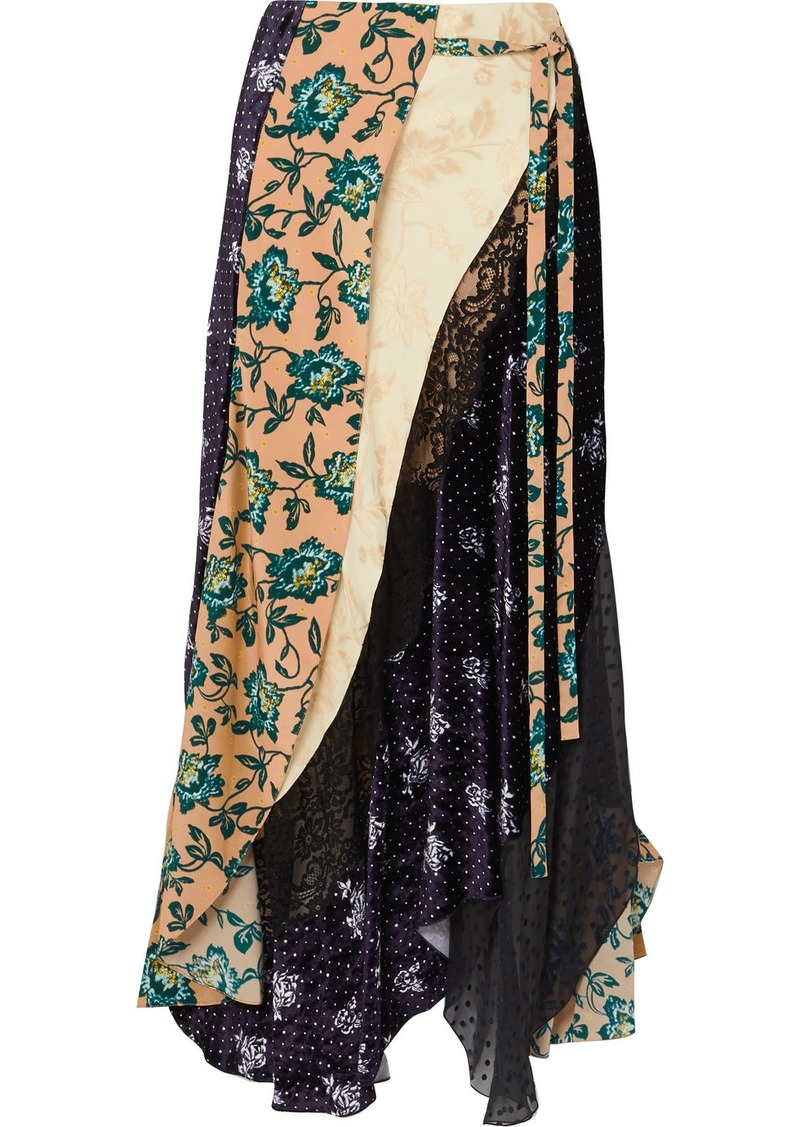 Chloé Asymmetric Paneled Printed Satin-jacquard, Velvet, Tulle And Crepe Skirt