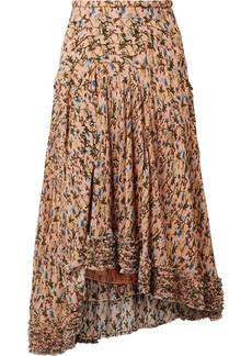 Chloé Asymmetric Pintucked Floral-print Georgette Skirt