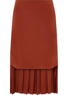 Chloé Asymmetric Pleated Silk-crepe Skirt