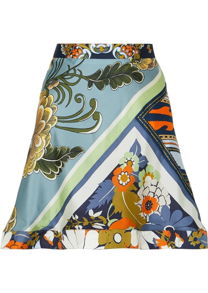 Chloé Asymmetric Ruffled Printed Silk-twill Skirt