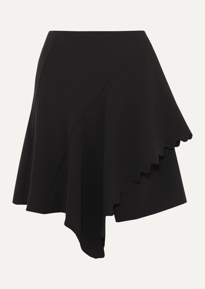Chloé Asymmetric Scalloped Crepe Mini Skirt
