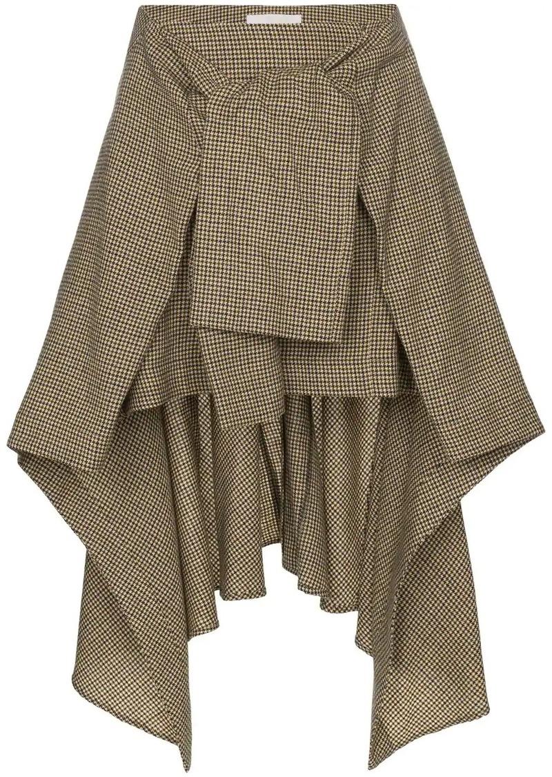 Chloé asymmetric tie-waist check skirt