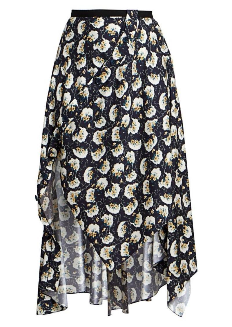 Chloé Asymmetrical Bouquet Print Skirt