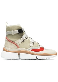 Chloé beige, grey and red sonnie suede leather and mesh high top sneakers