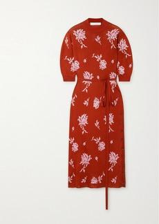 Chloé Belted Floral-jacquard Midi Dress