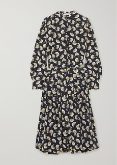 Chloé Belted Floral-print Silk Crepe De Chine Midi Dress
