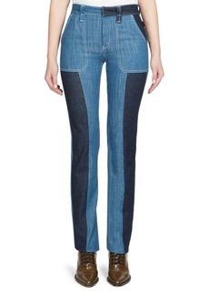 Bi-Color Cotton Denim Trousers