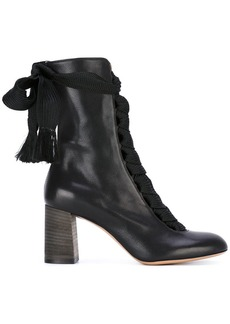 Chloé Black Harper 70 Leather Lace Up Boots