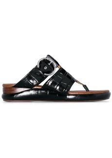 Chloé black Wave crocodile-effect leather sandals