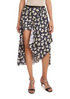 Chloé Bouquet-Print Silk Asymmetric Skirt