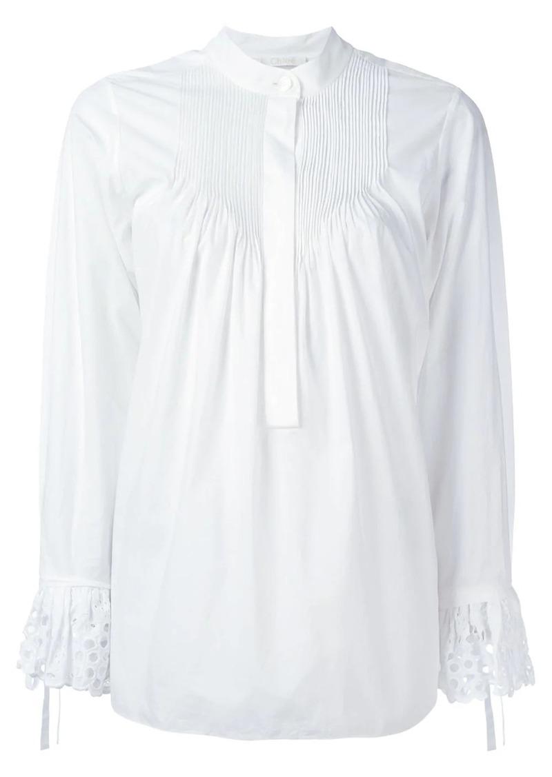 Chloé broderie anglaise pintuck blouse