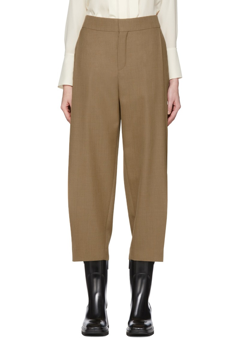 Chloé Brown Fine Wool Structured Trousers