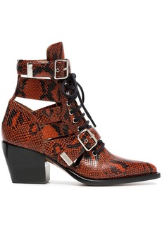 Chloé Brown Rylee 60 boot in python print calfskin