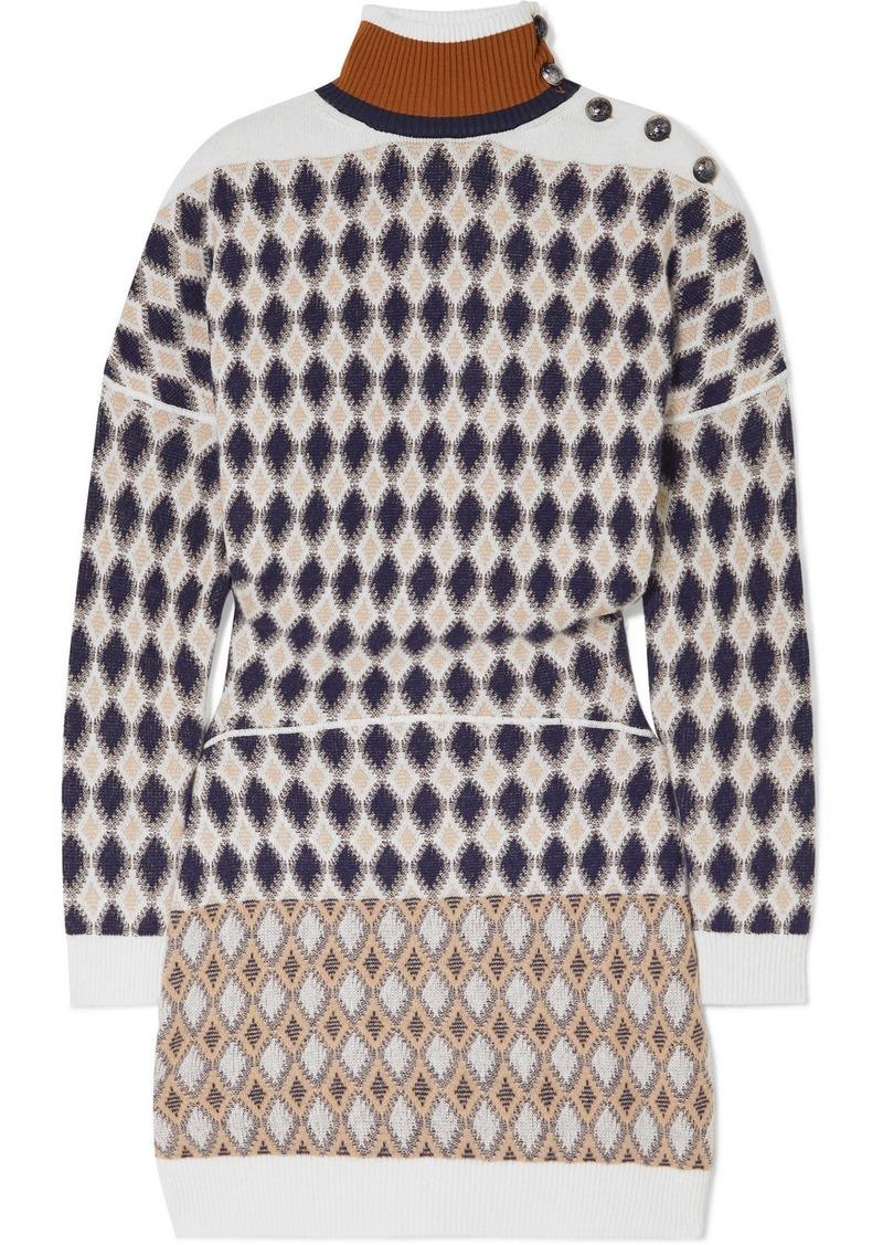 Chloé Button-embellished Argyle Merino Wool-blend Mini Dress