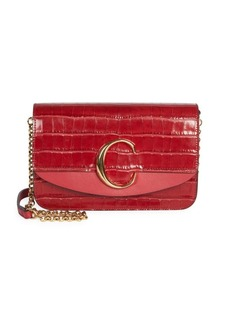 Chloé C Croc-Embossed Leather Clutch