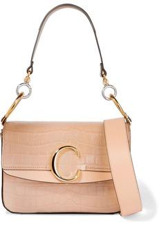 Chloé C Small Leather-trimmed Croc-effect Shoulder Bag