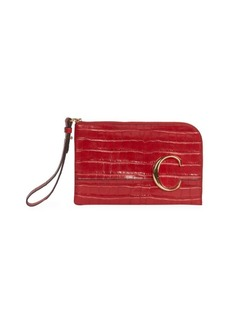 Chloé C Croc-Embossed Leather Pouch