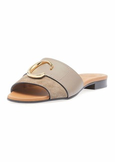 Chloé C Flat Leather Slide Sandals