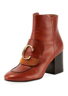 Chloé C Leather Zip Booties