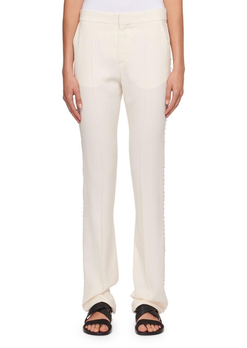 Chloé Cady Straight-Leg Pants with Rhinestone Embroidery
