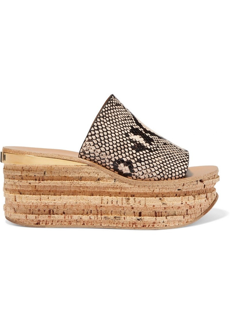 Chloé Camille Snake-effect Leather Wedge Sandals