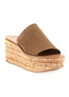 Chloé Camille Suede Wedge Slide Sandals
