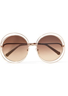 Chloé Carlina round-frame rose gold-tone sunglasses