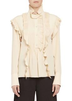 Chloé Pleated Ruffle Long Sleeve Silk Blouse