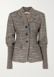 Chloé Checked Wool-blend Tweed And Ribbed-knit Jacket