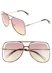 Chloé 57mm Halo Frame Aviator Sunglasses