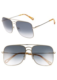 Chloé 58mm Metal Navigator Sunglasses