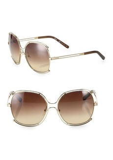 Chloé 59MM Oversized Wire-Trim Square Sunglasses