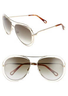 Chloé 61mm Aviator Sunglasses