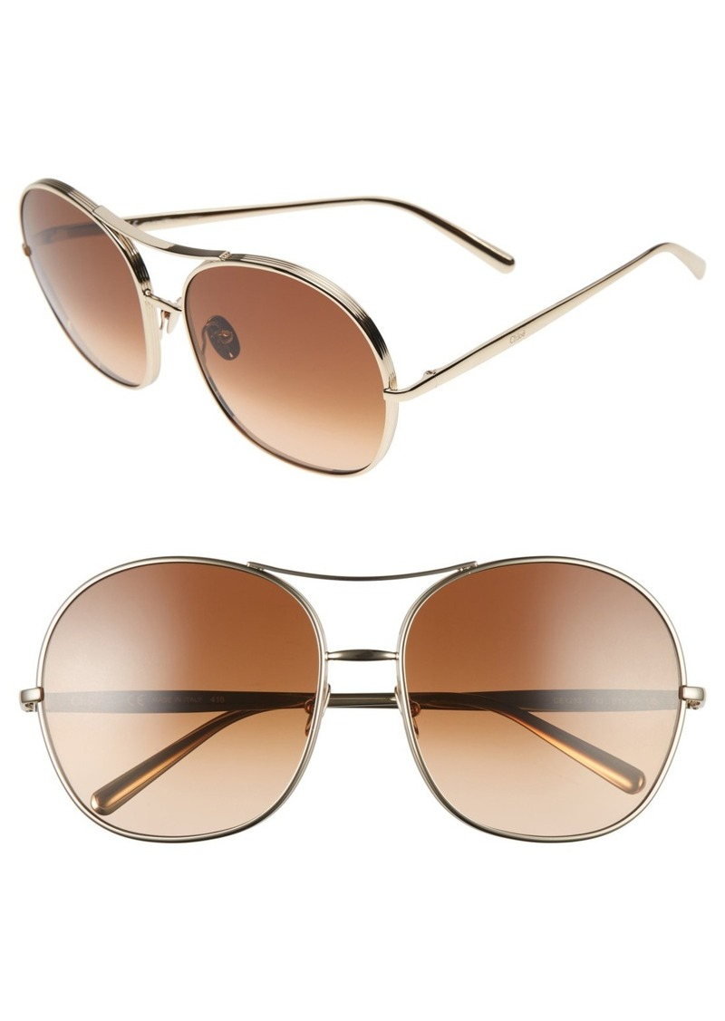 Chloé 61mm Oversize Aviator Sunglasses