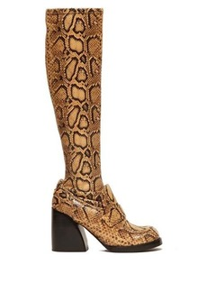 Chloé Adelie python-effect leather knee-high boots