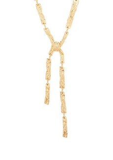 Chloé Anouck crinkle-effect brass necklace