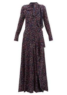 Chloé Aquatic floral-print slit-hem maxi dress