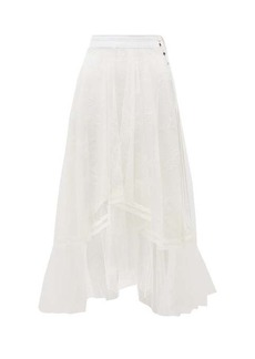 Chloé Asymmetric Chantilly-lace and silk-crepe skirt
