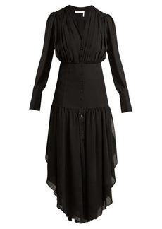 Chloé Asymmetric mousseline midi dress