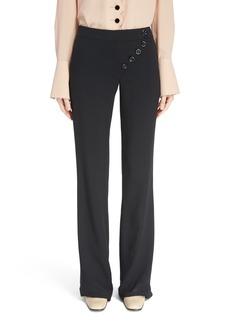 Chloé Asymmetrical Button Flare Cady Pants