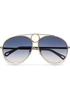 Chloé Aviator-style Gold And Silver-tone Sunglasses