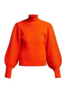 Chloé Balloon-sleeve high-neck chunky wool-blend sweater
