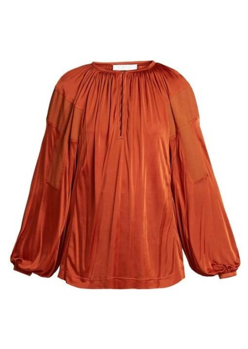 Chloé Balloon-sleeve satin top