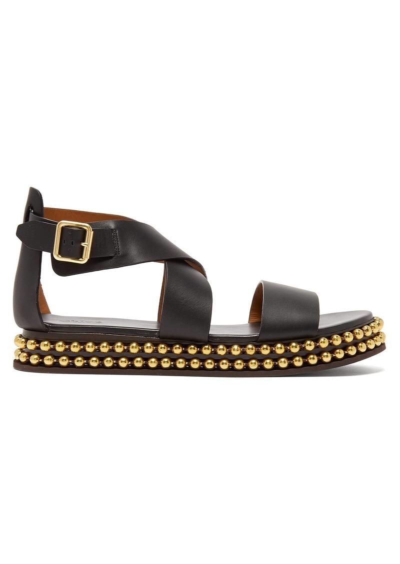 eace98628 SALE! Chloé Chloé Beaded-flatform leather sandals