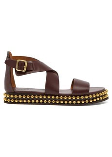 Chloé Beaded-flatform leather sandals