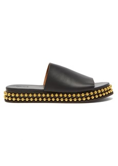 Chloé Beaded-flatform leather slides